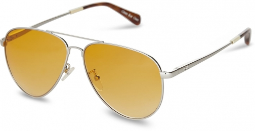 Toms Maverick 301 Shiny Silver With Amber Lens Sunglasses