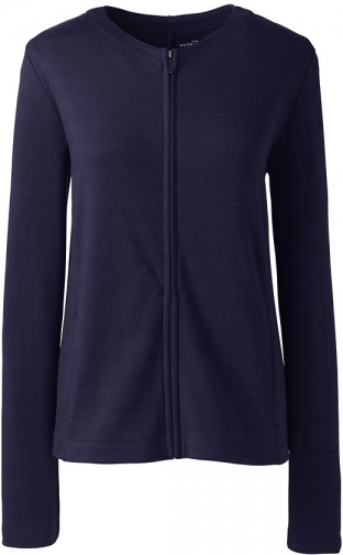 Lands' End Women's Zip Crew - Lands' End - Blue - XS Cardigan
