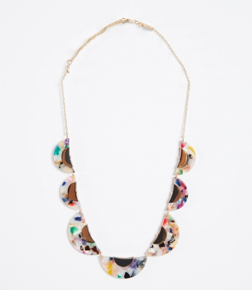 Loft Rainbow Resin Half Circle Necklace