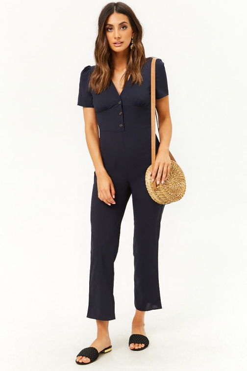 Forever21 Forever 21 Pleat Puff Sleeve Navy Jumpsuit