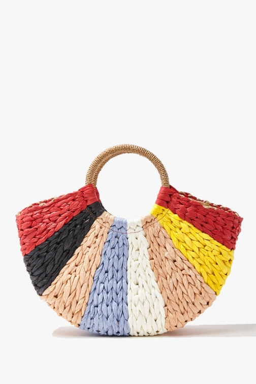Forever21 Colorblock Basketwoven Bag At Forever 21 , Red/multi Tote