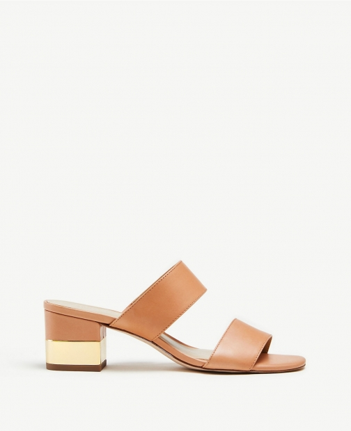Ann Taylor Liv Leather Block Heel Sandals