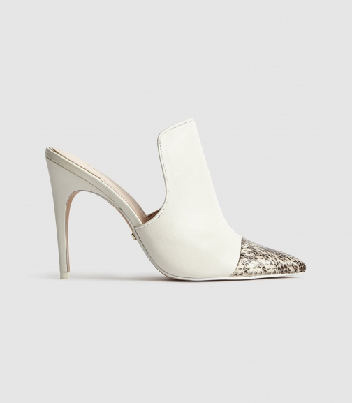 Reiss Spark - Snake Print Heeled White, Womens, Size 3 Mules