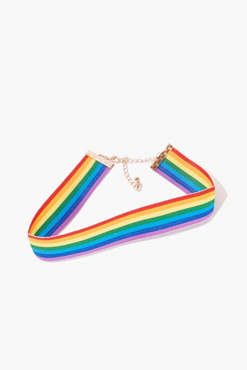 Forever21 Forever 21 Rainbow-Striped , Gold/multi Chokers