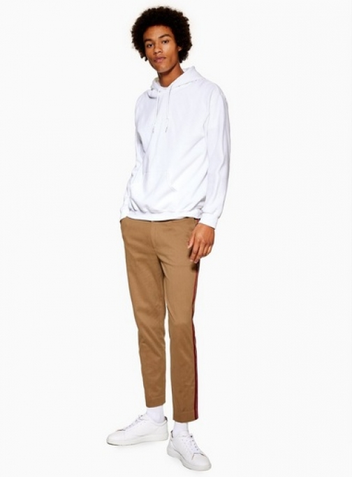 Topman Mens Brown Camel With Side Taping, Brown Skinny Trouser