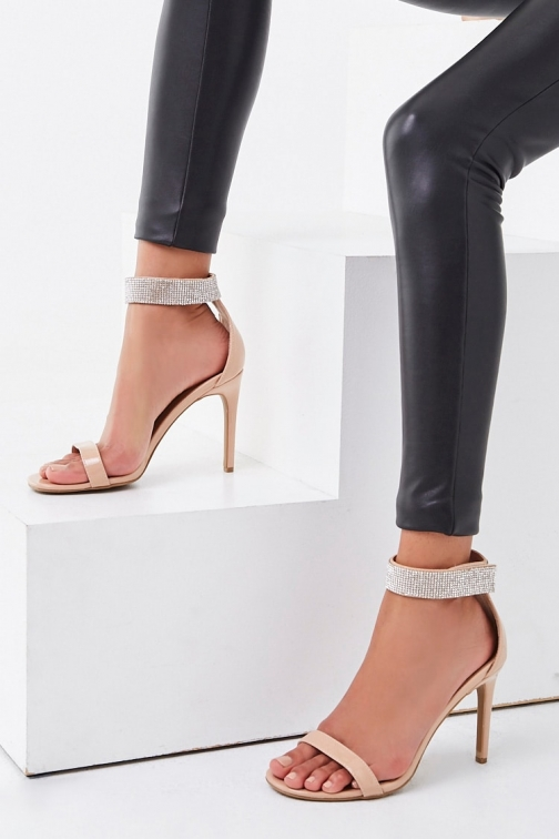 Forever21 Forever 21 Rhinestone-Trim Stiletto Heels , Nude Shoes