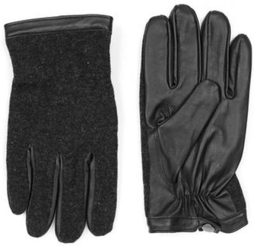 Topman Mens Red Charcoal And Black Leather And Knitted , Red Glove