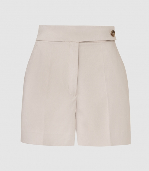 Reiss Flores - Cotton With Button Detail Stone, Womens, Size 12 Short