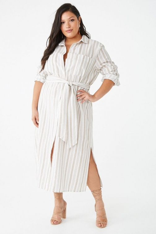 Forever21 Plus Forever 21 Plus Size Striped , Ivory/camel Shirt Dress