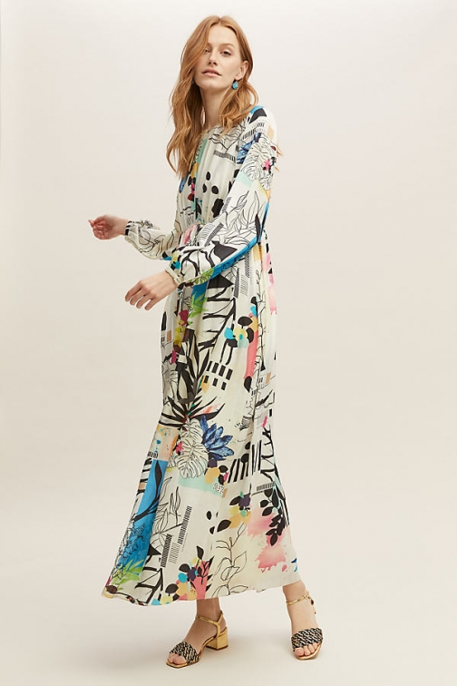 Anthropologie Genna Printed Maxi Dress