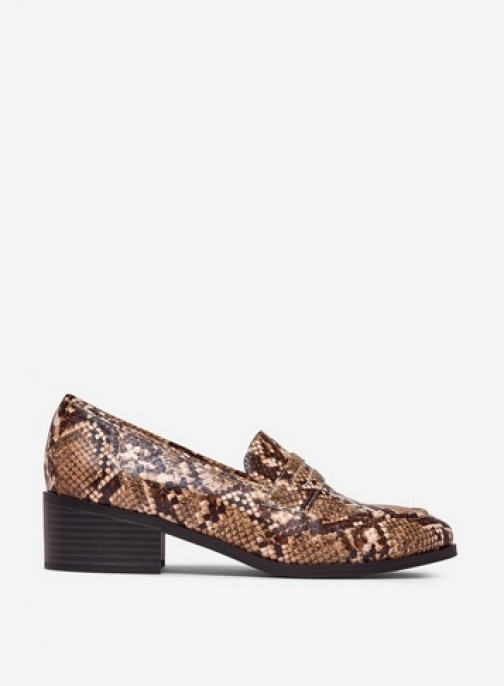 Dorothy Perkins Multi Colour 'Liza' Snake Print Loafers Shoes