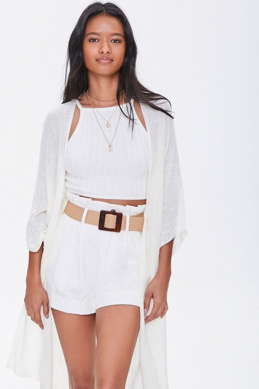 Forever21 Open-Front Slub Knit At Forever 21 , White Cardigan