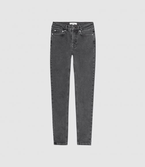 Reiss Lux - Mid Rise Grey, Womens, Size 24 Skinny Jeans