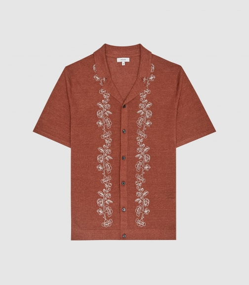 Reiss Boone - Embroidered Cuban Collar Copper, Mens, Size XS Shirt