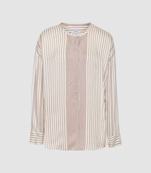 Reiss Carlie - Striped Cream, Womens, Size 4 Blouse