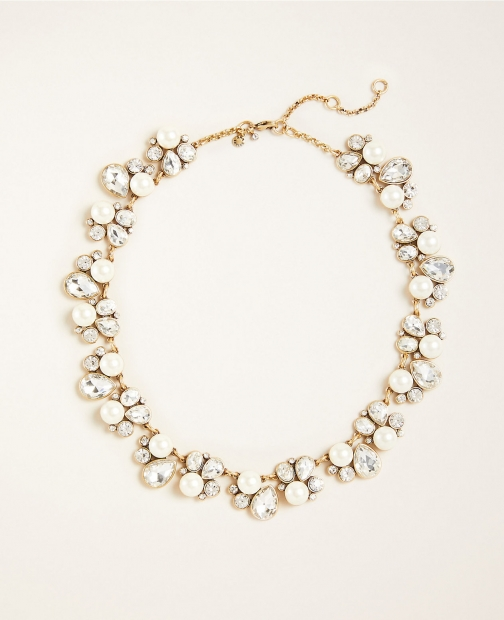 Ann Taylor Teardrop Crystal And Pearl Statement Necklace