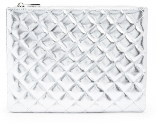 Forever21 Forever 21 Quilted Metallic Makeup Silver Pouch