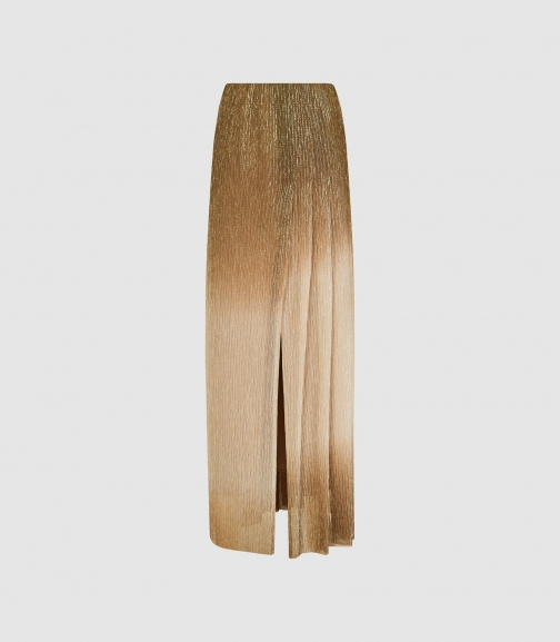 Reiss Emmeline - Metallic Maxi Gold, Womens, Size 12 Skirt