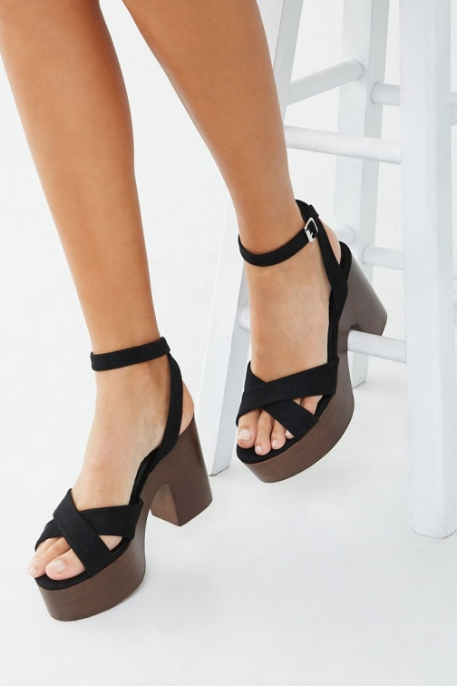 Forever21 Forever 21 Faux Suede Block Heels , Black Shoes
