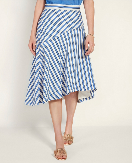 Ann Taylor Stripe Seamed Full Skirt
