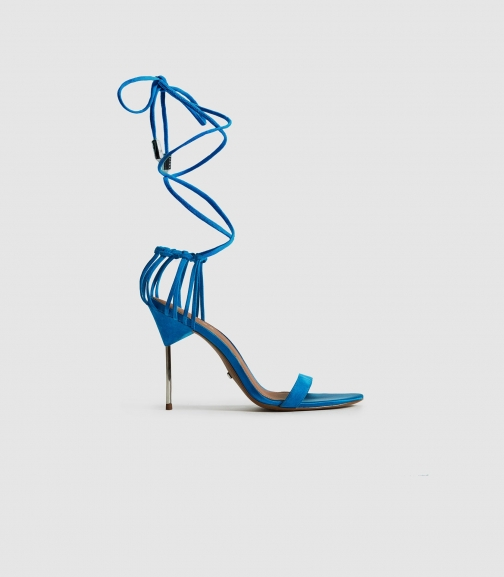 Reiss Zhane - Suede Strappy Wrap Cobalt Blue, Womens, Size 3 Sandals