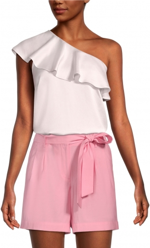 Ann Taylor Factory One Shoulder Ruffle -PETITE Shirt