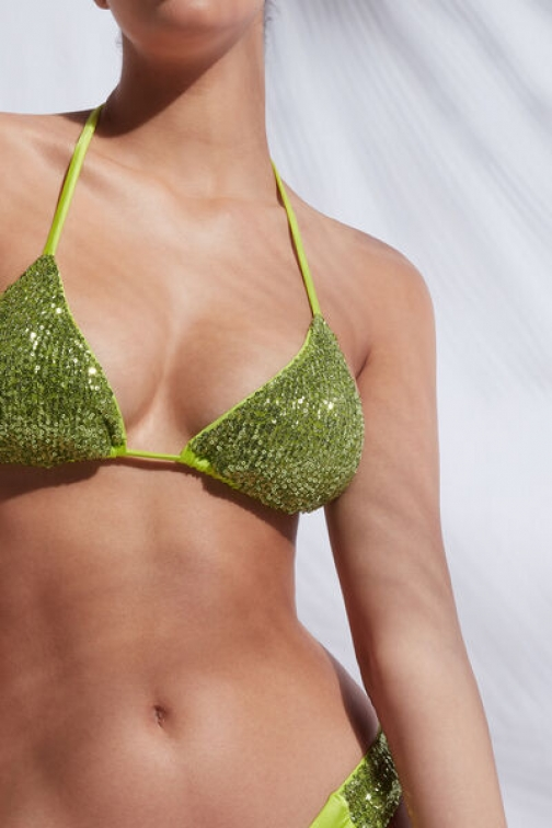 Calzedonia Triangle String Top Cannes Woman Green Size 3 Swimsuit