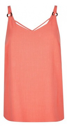 Dorothy Perkins Coral Strap Camisole Top With Linen Ring