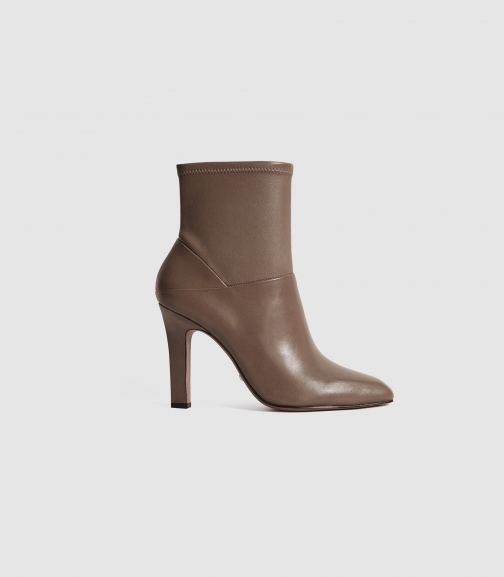 Reiss Carrie - Leather Taupe, Womens, Size 3 Ankle Boot