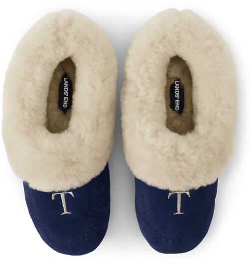 Lands' End Women's Suede Leather Shearling Fur House - Lands' End - Blue - 6 Slippers
