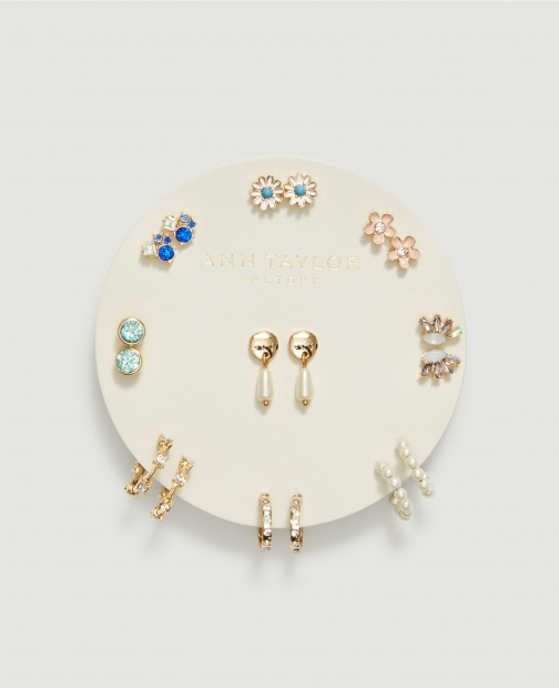 Ann Taylor Factory Floral Sparkle Stud Earring Set Jewellery