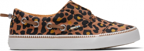 Toms Toffee Cheepard Print Youth Pasadena Slip-Ons Shoes