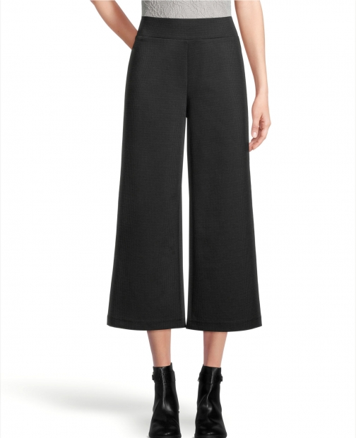 Ann Taylor Factory Petite Pull On Wide Leg Pants Houndstooth Trouser
