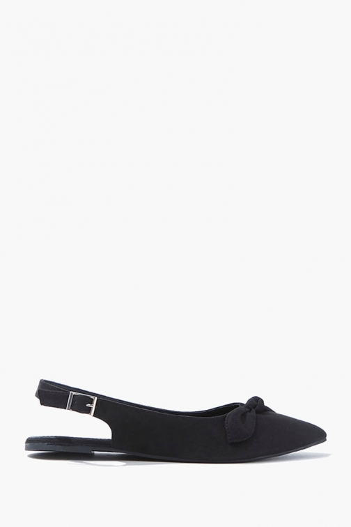 Forever21 Forever 21 Faux Suede Bow , Black Flats