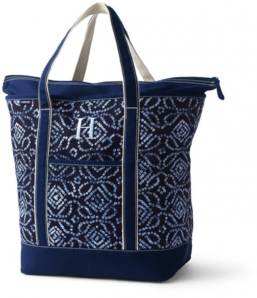 Lands' End Large Print Zip Top Canvas Bag - Lands' End - Blue Tote