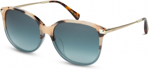 Toms Sandela 201 Cream Brown Teal Fade With Turquoise Gradient Lens Sunglasses