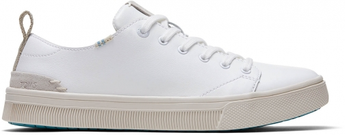 Toms White Leather Women's Trvl Lite Low Sneakers Shoes Trainer