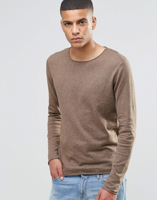 Selected Homme Silk Mix Knitted With Raw Edge Jumper