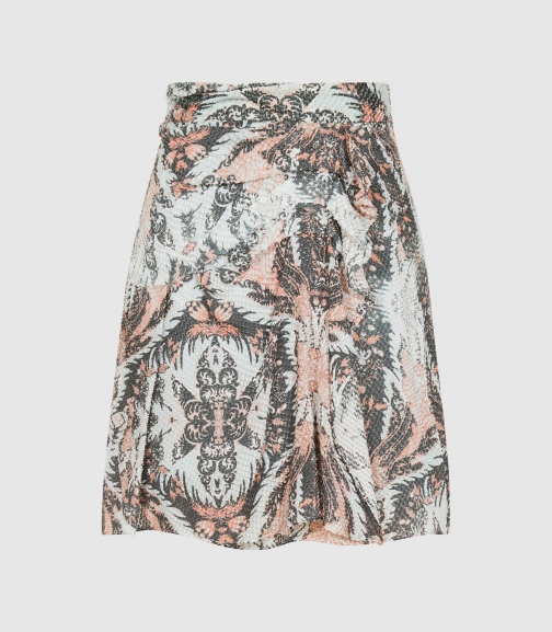 Reiss Ariella - Paisley Printed Grey, Womens, Size 8 Skirt