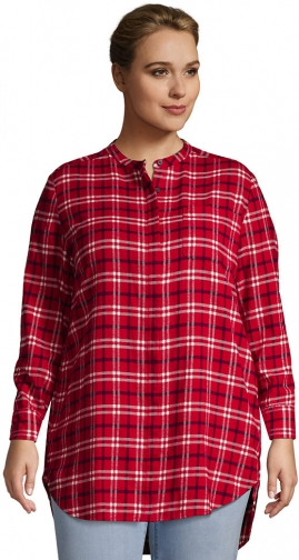 Lands' End Women's Plus Size Flannel A-Line Long Sleeve - Lands' End - Red - 1X Tunic Top