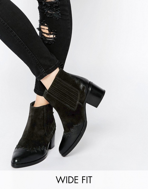 Asos ROUND UP Wide Fit Western Leather Ankle Boot