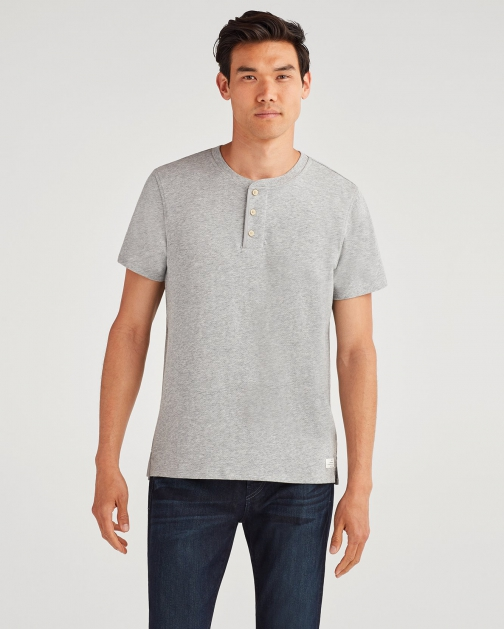 7 For All Mankind Men's Boxer 3 Button Henley Heather Grey Shirt