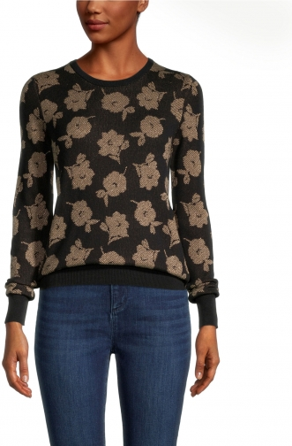 Ann Taylor Factory Shimmer Floral Crew Neck Sweater Sweatshirt