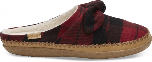 Toms Red Plaid Felt Bow Women's Ivy Slippers