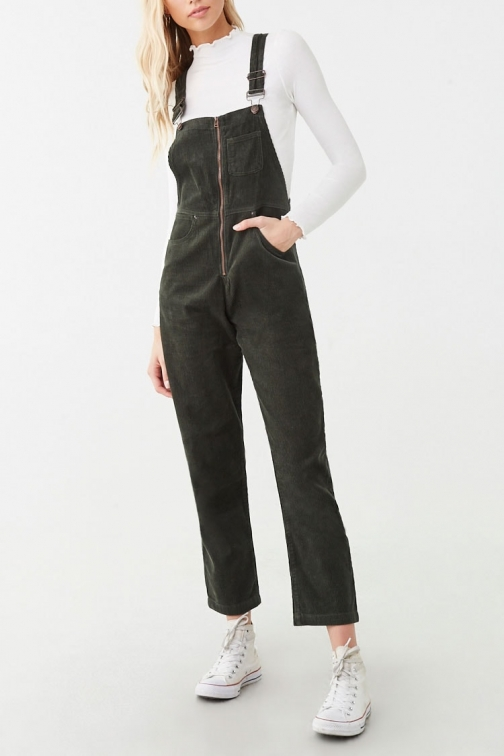 Forever21 Forever 21 Corduroy Zip-Front Overalls , Olive Jumpsuit