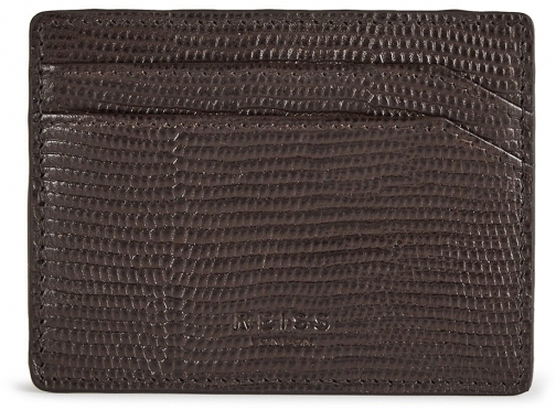 Reiss Hellon Print - Textured Leather Brown, Mens Card Holder