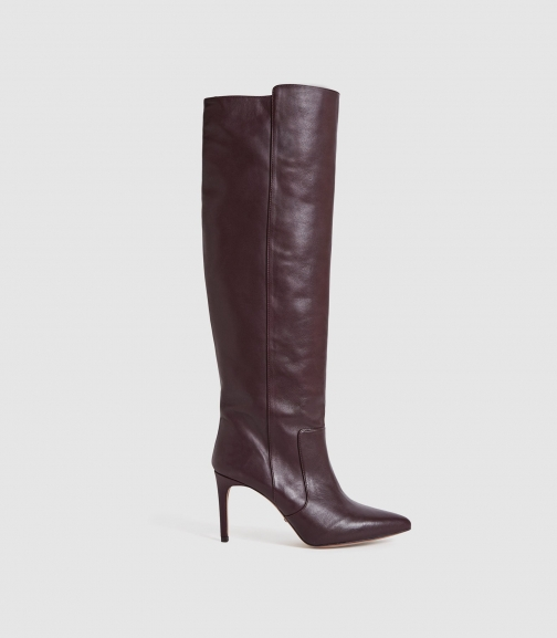 Reiss Zinnia - Leather Point Toe Pomegranate, Womens, Size 7 Knee High Boots