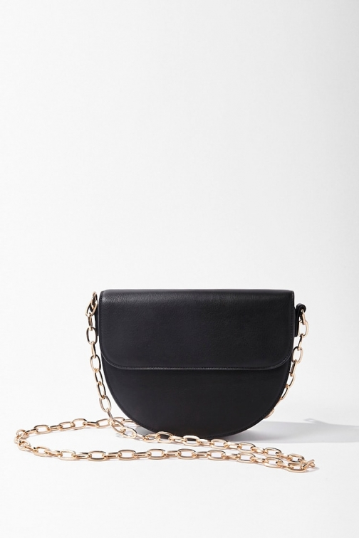 Forever21 Forever 21 Half Moon , Black Crossbody Bag