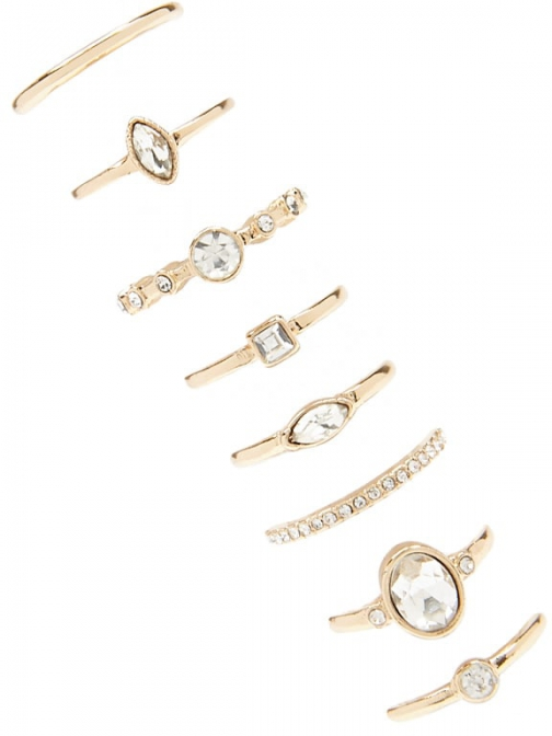 Forever21 Forever 21 Rhinestone Set Gold/clear Ring