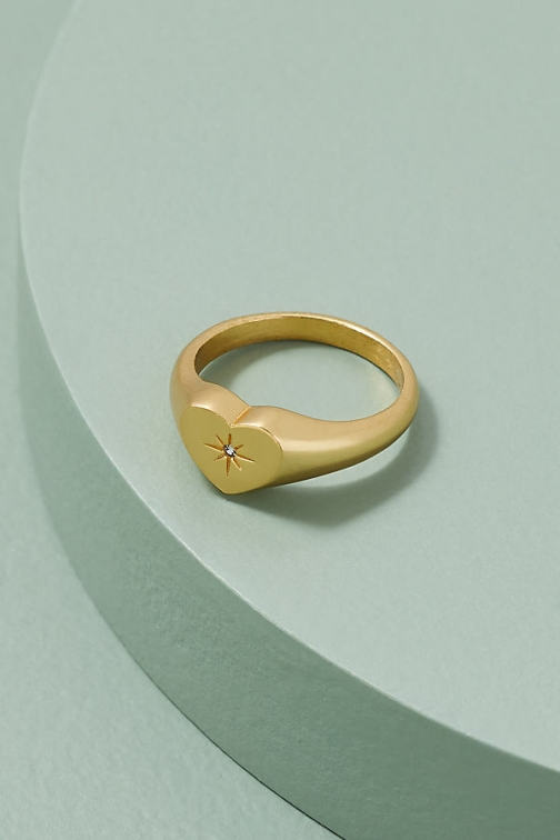 Anthropologie Jewelled-Heart Signet Ring